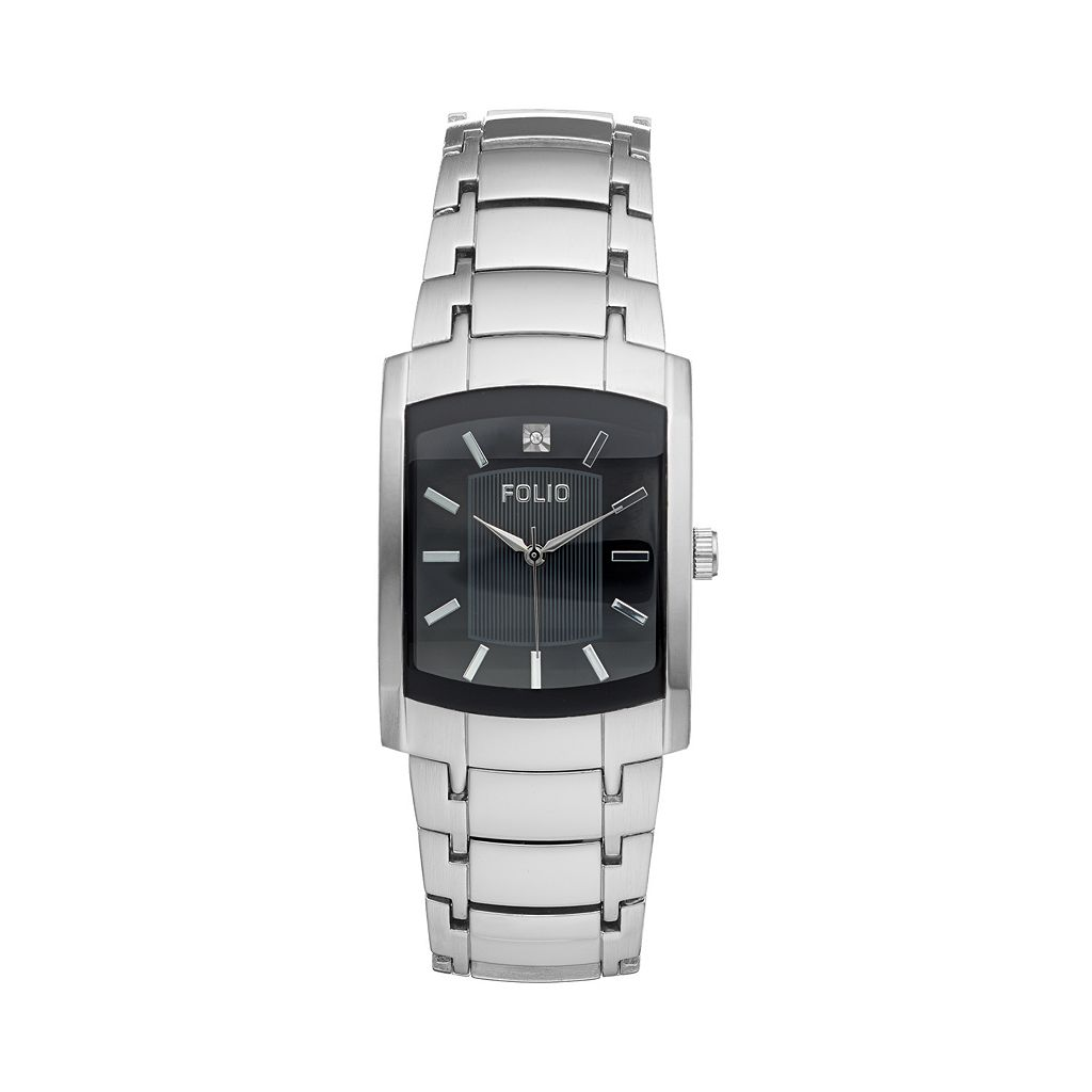 Folio Men's Diamond Stainless Steel Watch