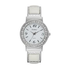 Studio Time Women's Crystal & White Cabochon Cuff Watch