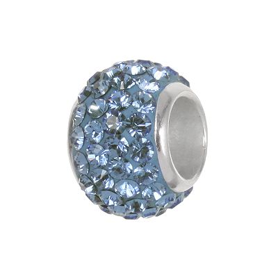 Individuality Beads Sterling Silver Blue Crystal Round Bead