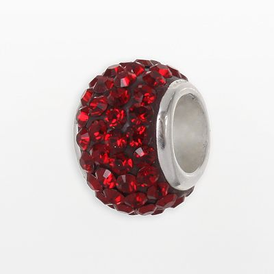 Individuality Beads Sterling Silver Red Crystal Round Bead