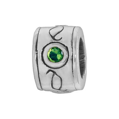 Individuality Beads Sterling Silver Green Cubic Zirconia Scroll Round Bead