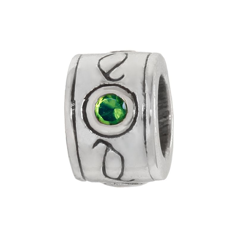 Individuality Beads Sterling Silver Crystal Scroll Round Bead