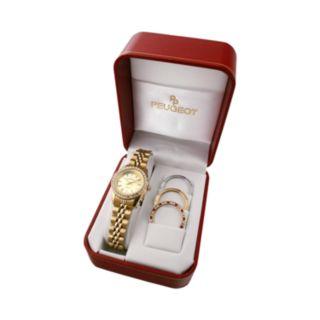Peugeot Women's Crystal Watch & Interchangeable Bezel Set - 405G