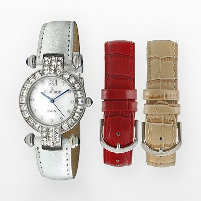 Peugeot Silver-Tone Crystal Leather Watch Set - Women