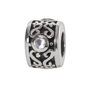 Individuality Beads Sterling Silver Cubic Zirconia Filigree Round Bead
