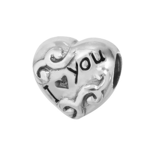 "Individuality Beads Sterling Silver ""I Love You"" Heart Bead"