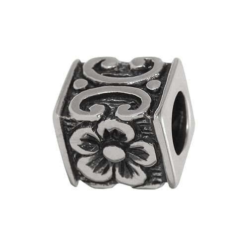 Individuality Beads Sterling Silver Flower Cube Bead