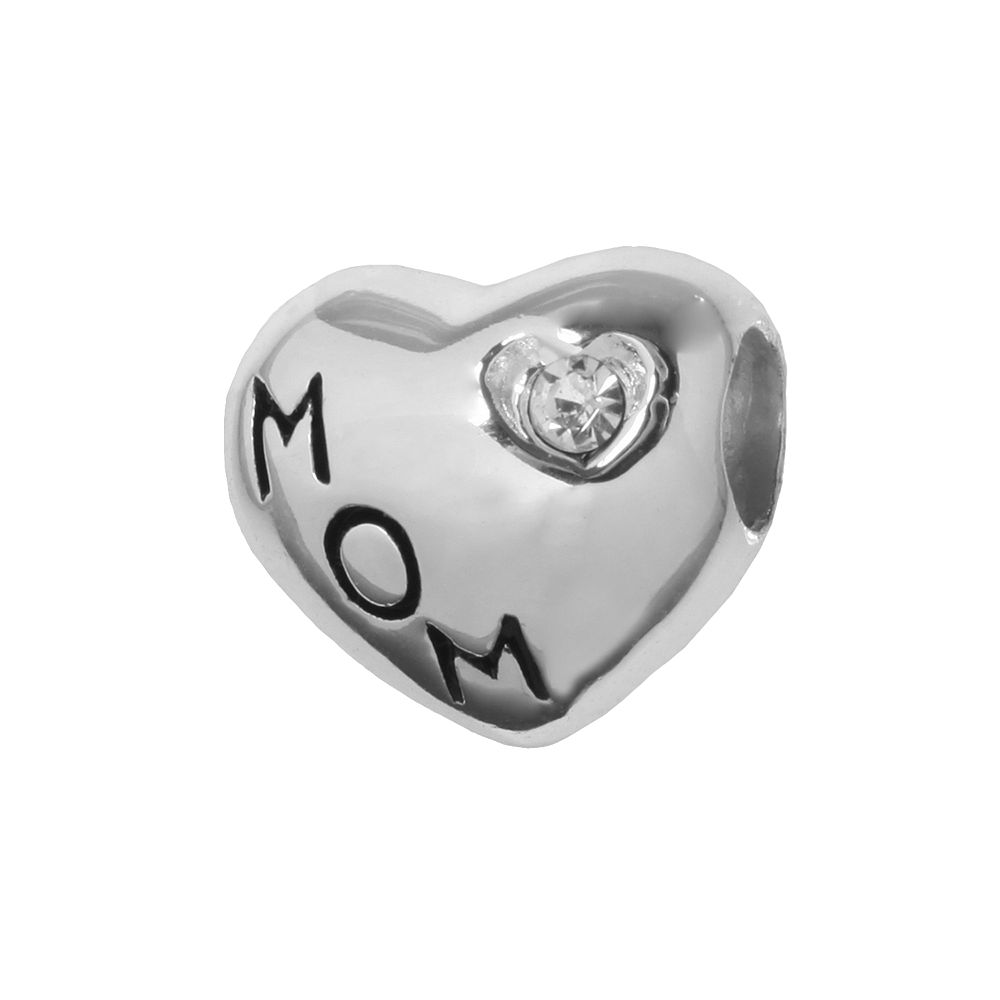 """Individuality Beads Sterling Silver Crystal """"Mom"""" Heart Bead"""