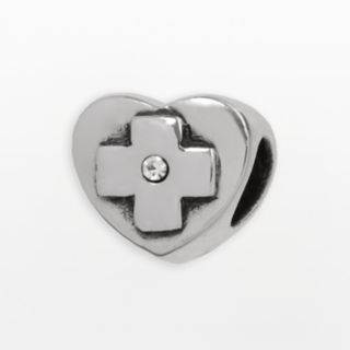 Individuality Beads Sterling Silver Crystal Heart Cross Bead