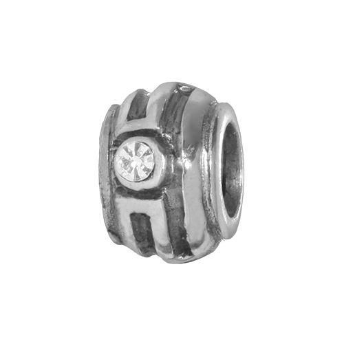 Individuality Beads Sterling Silver Crystal Striped Stopper Bead