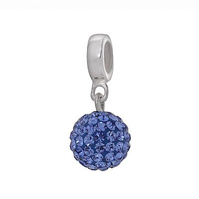 Individuality Beads Sterling Silver Blue Crystal Ball Charm