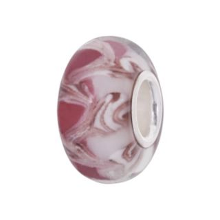 Individuality Beads Sterling Silver Pink Swirl Glass Bead