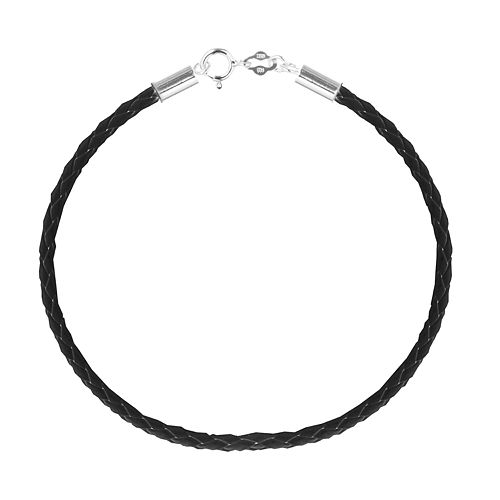 Individuality Beads Sterling Silver Braided Leather Bracelet