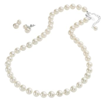 Silver Tone Simulated Pearl Necklace and Drop Earring Set