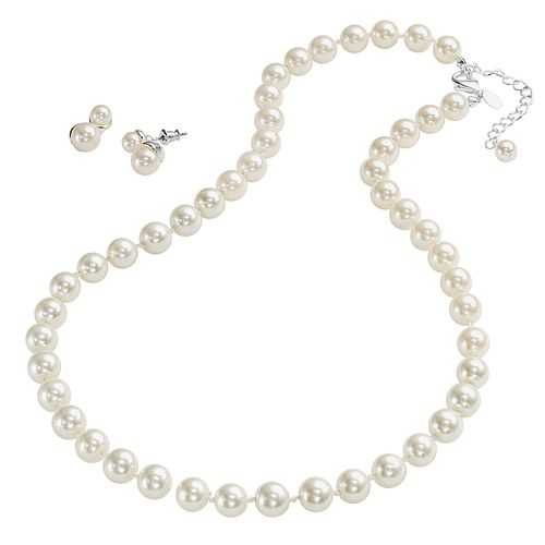 Silver Tone Simulated Pearl Necklace & Drop Earring Set