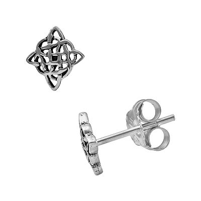 Itsy Bitsy Sterling Silver Openwork Celtic Square Stud Earrings