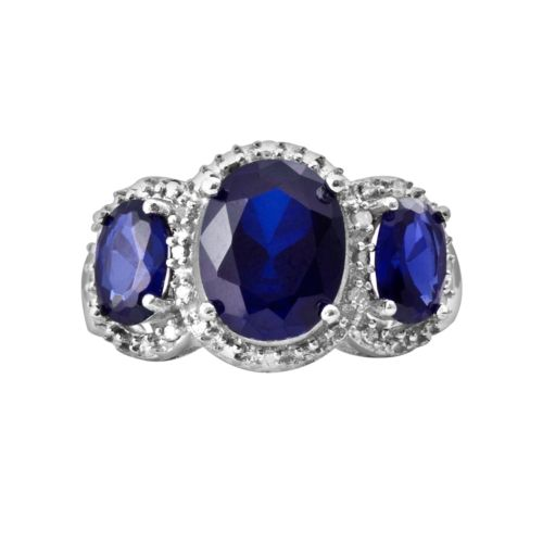 Sterling Silver 1/10-ct. T.W. Diamond and Lab-Created Sapphire Ring