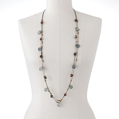SONOMA life + style Gold-Tone Beaded Shell-Composite Long Multistrand Necklace