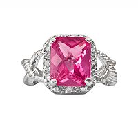 Sterling Silver 1/10-ct. T.W. Diamond & Lab-Created Pink Sapphire Crisscross Ring