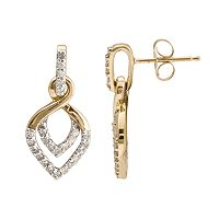 10k Gold 1/4-ct. T.W. Diamond Leaf Drop Earrings
