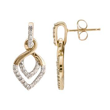 10k Gold 1/4-ct. T.W. Diamond Leaf Drop Earrings