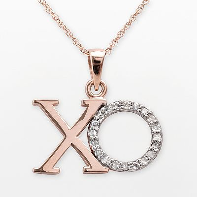 10k Rose Gold 1/10-ct. T.W. Diamond XO Pendant