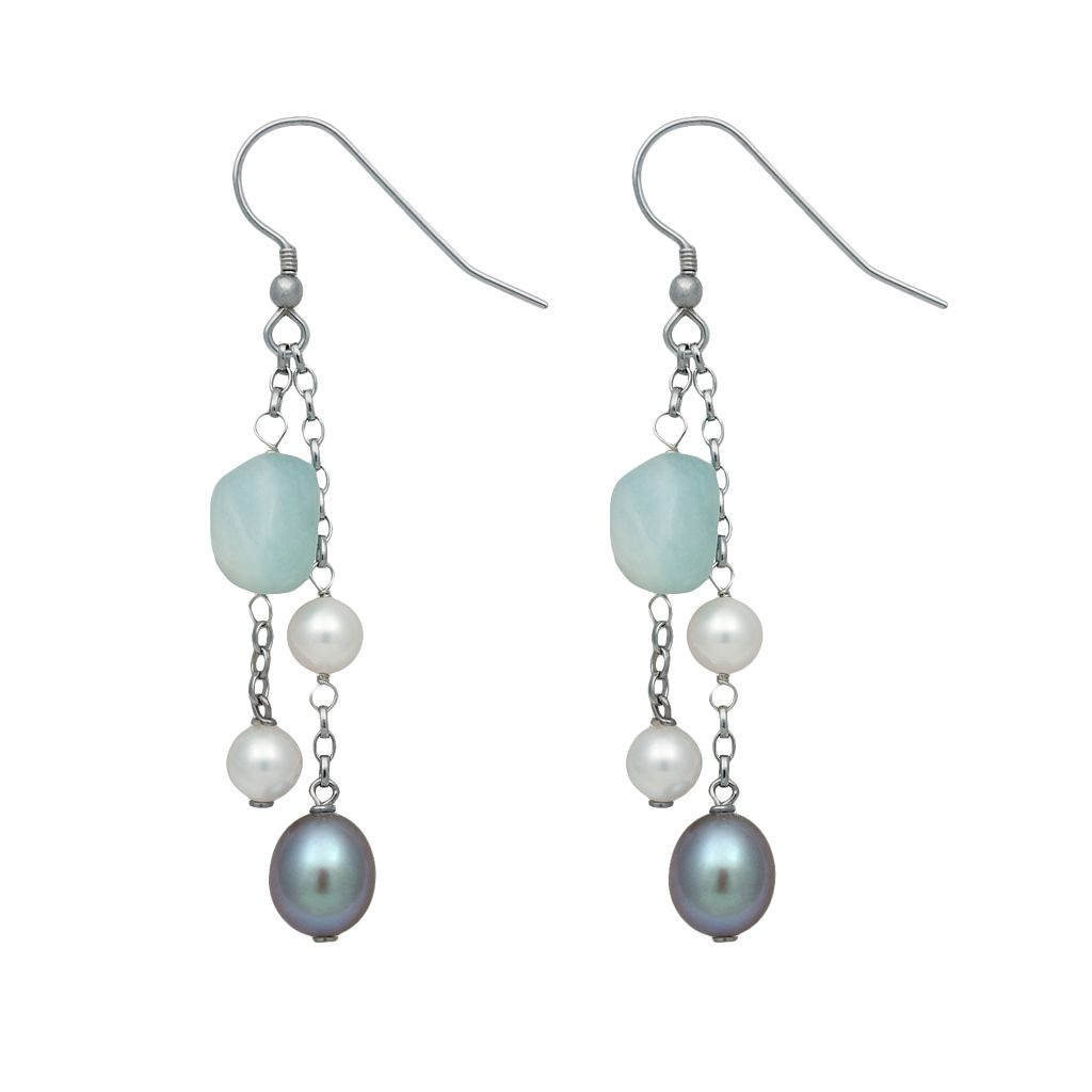 Sterling Silver Dyed Freshwater Cultured Pearl & Aquamarine Beaded Drop Earrings