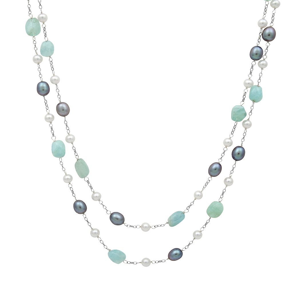 Sterling Silver Dyed Freshwater Cultured Pearl & Aquamarine Multistrand Station Necklace
