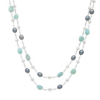 Sterling Silver Dyed Freshwater Cultured Pearl and Aquamarine Multistrand Station Necklace