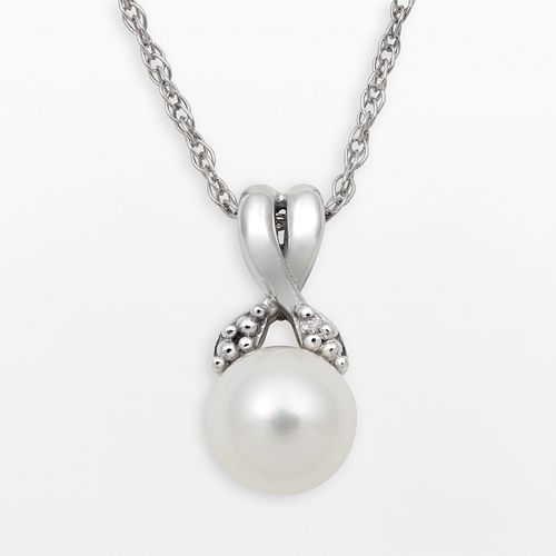 Sterling Silver Freshwater Cultured Pearl & Diamond Accent Crisscross Pendant