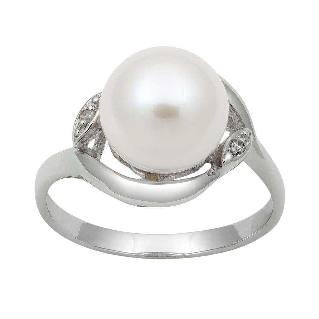 Sterling Silver Freshwater Cultured Pearl & Diamond Accent Swirl Ring