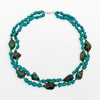 14k Gold Turquoise Beaded Multistrand Necklace