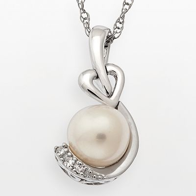 Sterling Silver Freshwater Cultured Pearl and Diamond Accent Swirl Pendant