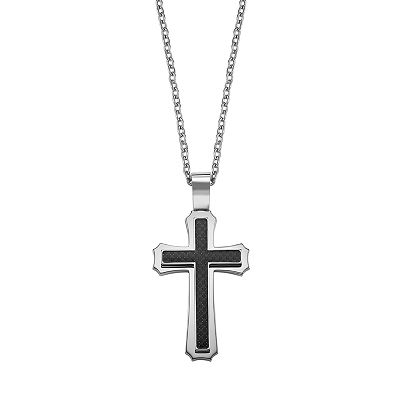 AXL by Triton Stainless Steel and Black Carbon Cross Pendant - Men