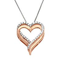 Two Hearts Forever One 14k Rose Gold-Over-Silver & Sterling Silver 1/4 ctT.W. Diamond Heart Pendant