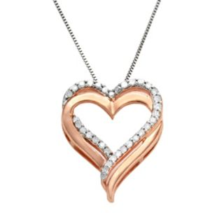 Two Hearts Forever One 14k Rose Gold-Over-Silver and Sterling Silver 1/4-ct. T.W. Diamond Heart Pendant