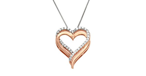 Two Hearts Forever One 14k Rose Gold Over Silver And