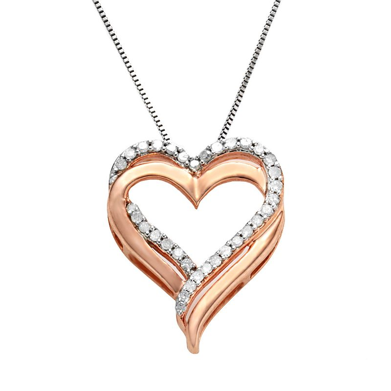 """Two Hearts Forever One 14k Rose Gold-Over-Silver and Sterling Silver 1/4-ct. T.W. Diamond Heart Pendant, Women's, Size: 18"""", White"""