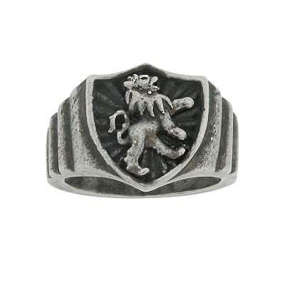 Stainless Steel Lion Shield Ring - Men
