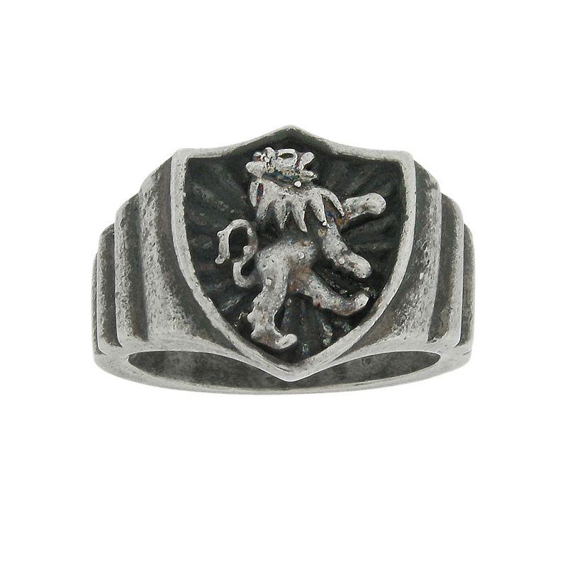 Stainless Steel Lion Shield Ring - Men