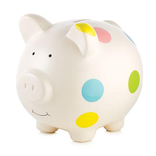 Pearhead Polka-Dot Piggy Bank