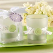 Kate Aspen Cute As A Button Frosted Glass Tealight Candles and Holders Set