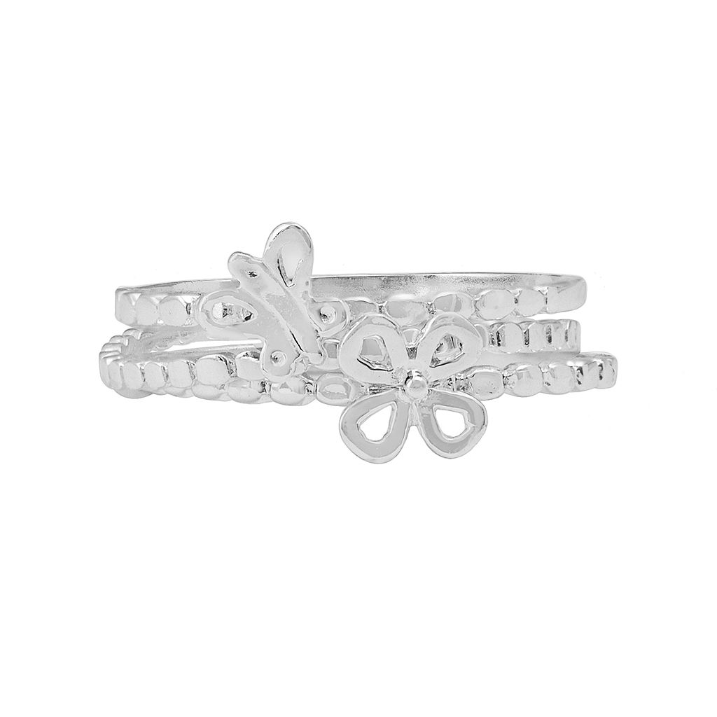 Sterling Silver Floral Butterfly Stack Ring Set