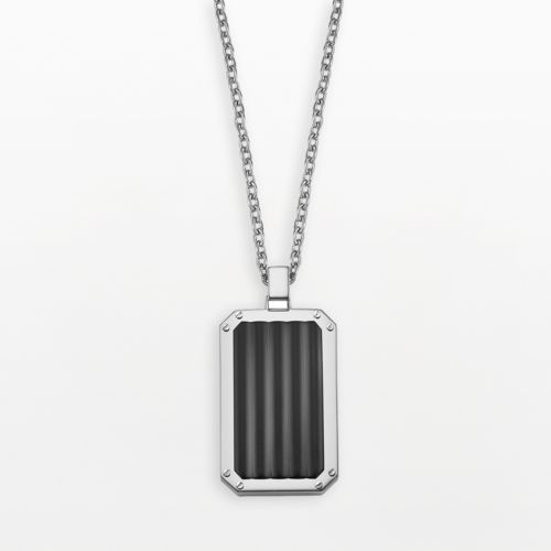 AXL by Triton Stainless Steel Black Ion Grooved Dog Tag - Men