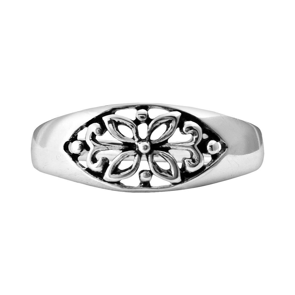 Sterling Silver Filigree Floral Ring