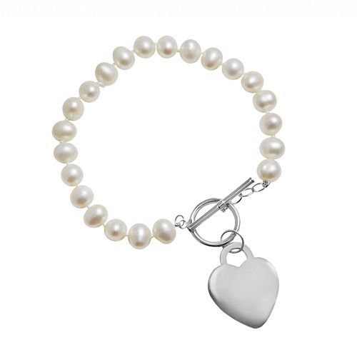 Sterling Silver Freshwater Cultured Pearl Heart Toggle Bracelet