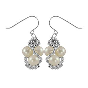 Sterling Silver Freshwater Cultured Pearl Bead Twist Drop Earrings