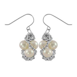 Sterling Silver Freshwater Cultured Pearl Bead Twist Drop Earrings