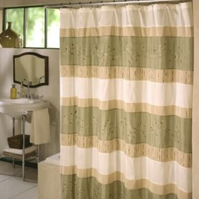 Excell Home Fashions Wasabi Pieced Fabric Shower Curtain