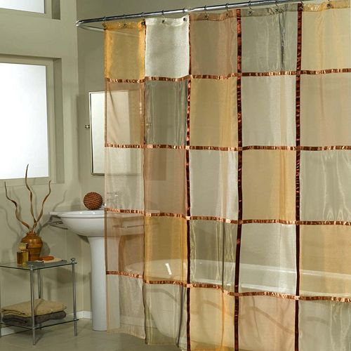 Excell Home Fashions Mosaic Checker Fabric Shower Curtain